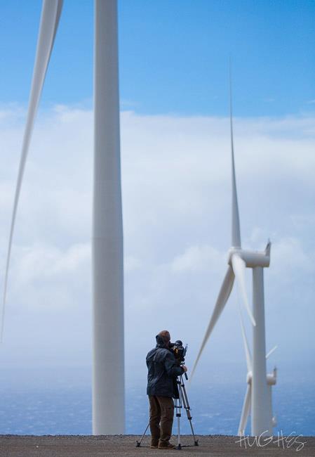 Filming a wind farm