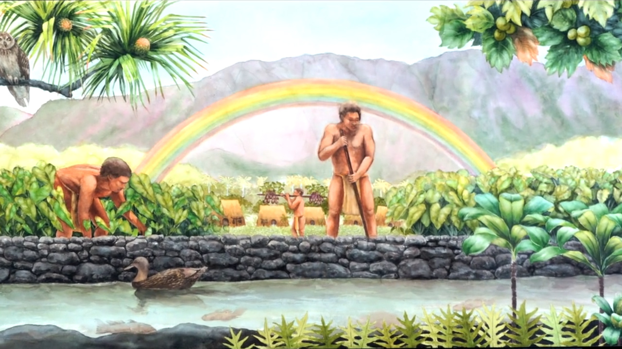 painting of traditional Hawaiian life.